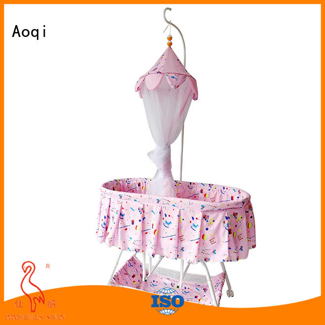 inside wheels wooden Aoqi Brand baby crib online