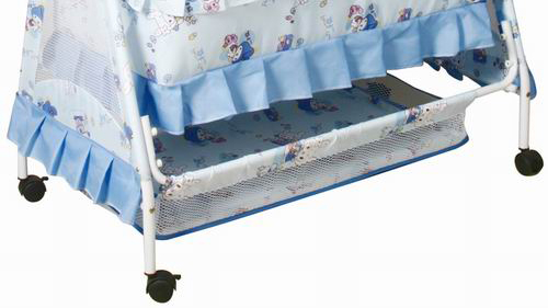 Hot sale iron baby swing bed with mosquito net and wheels 877N-2