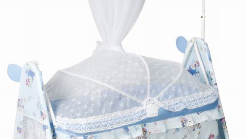 Hot sale iron baby swing bed with mosquito net and wheels 877N-3