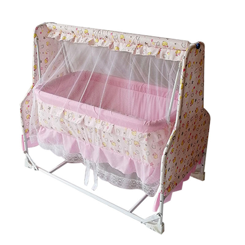 Metal baby swing cradle with mosquito net and wheels B11