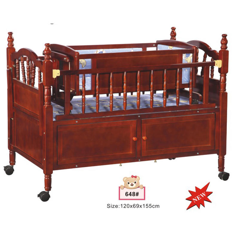 Multifunction wooden baby crib bed with swing cradle inside 648