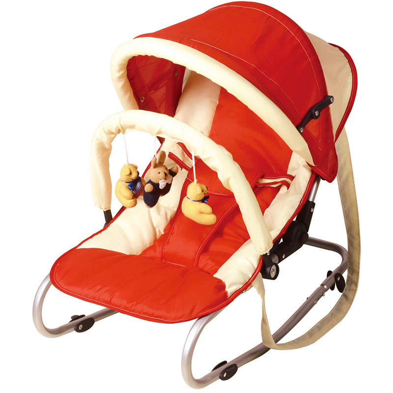 New born to toddler baby rocking chair with canopy and hanging toys 335A