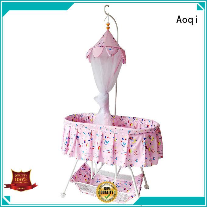Aoqi Brand wheels hot sale baby baby crib online manufacture