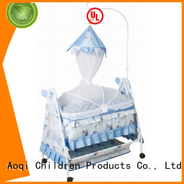 metal Custom high quality comfortable baby crib online Aoqi wheels