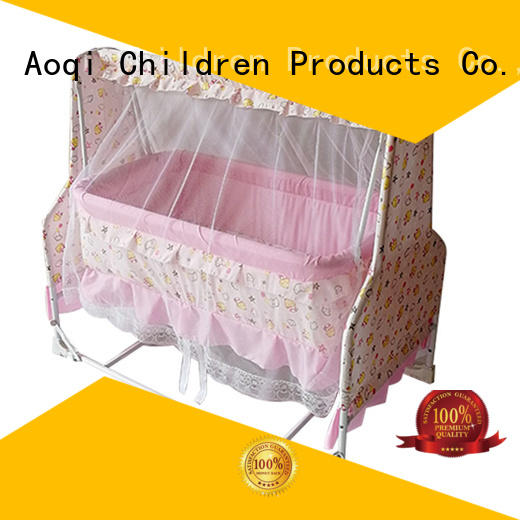 Custom comfortable baby crib online wheels Aoqi
