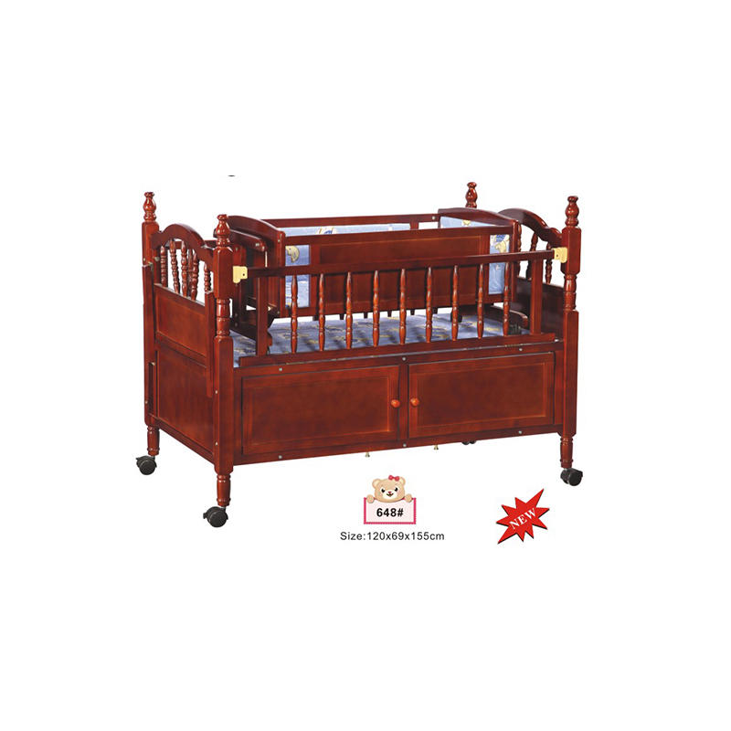 Multifunction wooden baby crib bed with swing cradle inside 648-1