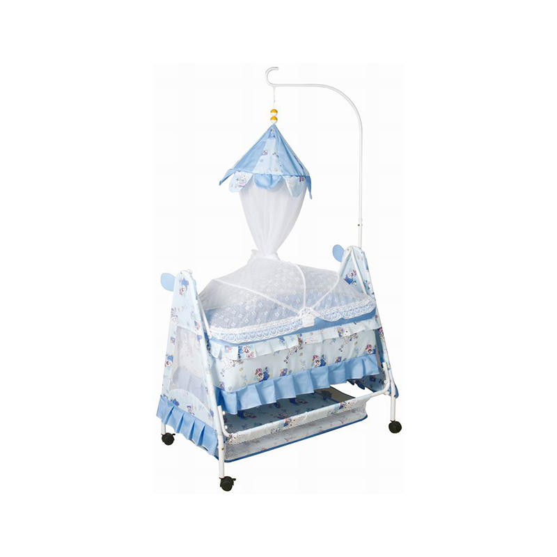 Hot sale iron baby swing bed with mosquito net and wheels 877N-1