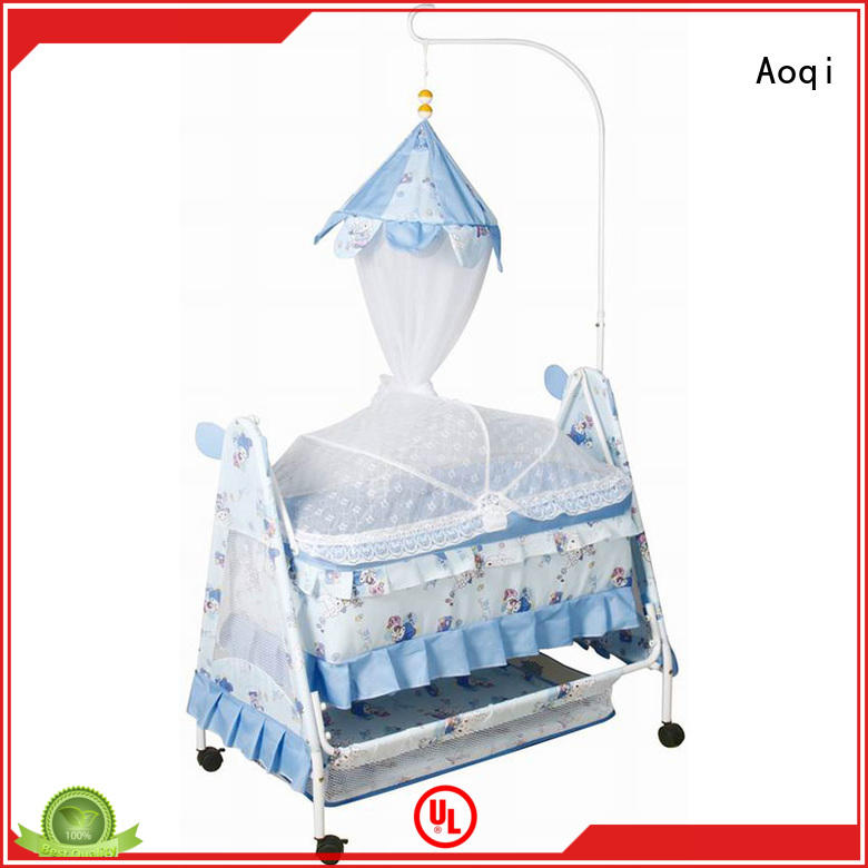 Hot sale iron baby swing bed with mosquito net and wheels 877N