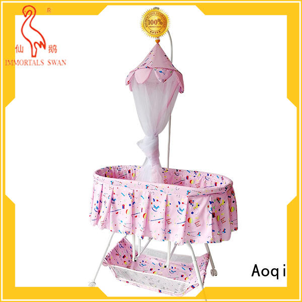 Aoqi wheels baby crib online from China for babys room