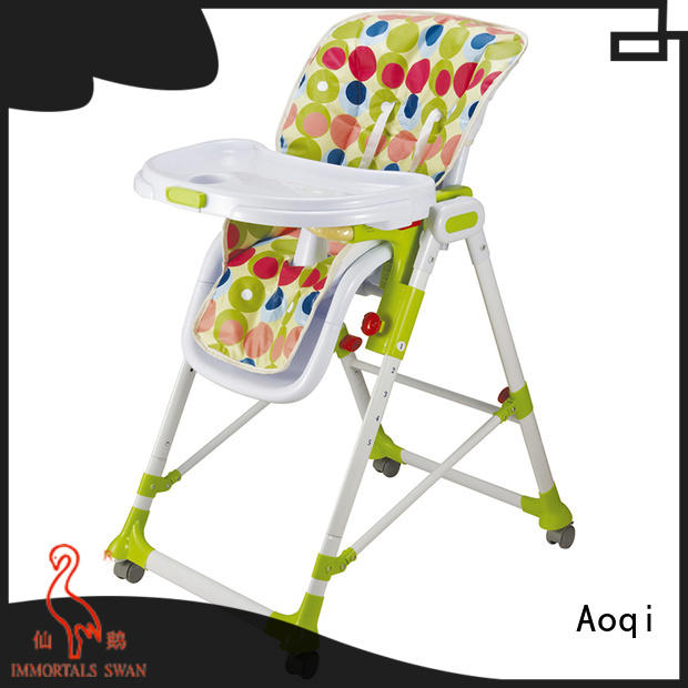 Aoqi portable baby high chair with wheels directly sale for home