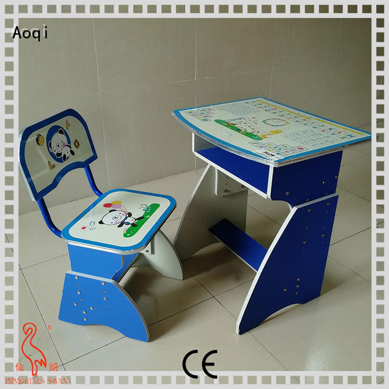 Custom plastic children's study table and chair high quality Aoqi