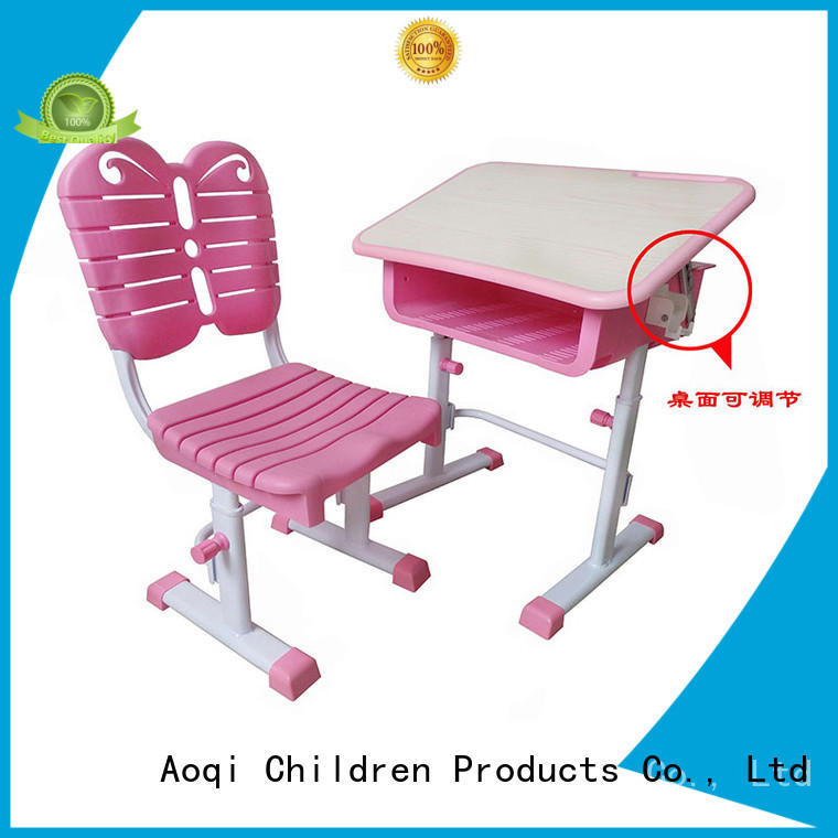plastic foldable stable children's study table and chair table Aoqi Brand