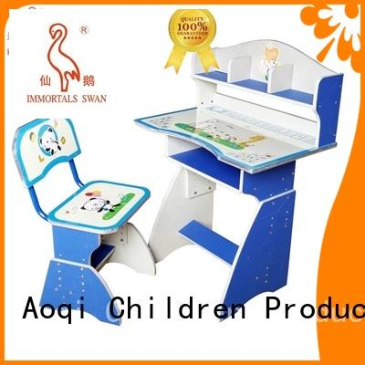 stable metal kids study table and chair set affordable Aoqi company