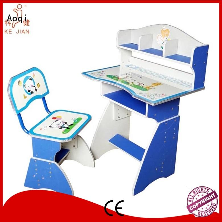 wooden plastic preschool Aoqi Brand children's study table and chair supplier
