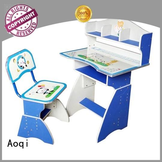 wooden plastic high quality Aoqi Brand kids study table and chair set manufacture