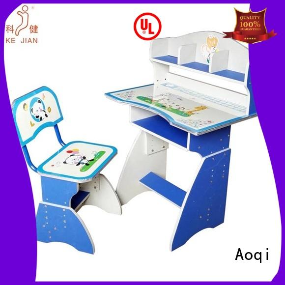 Aoqi Brand wooden children's study table and chair plastic factory