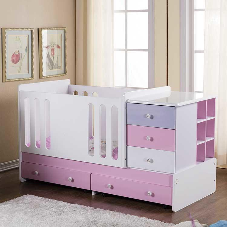 Convertible Baby Crib with drawers and bedside table which is for wholesale